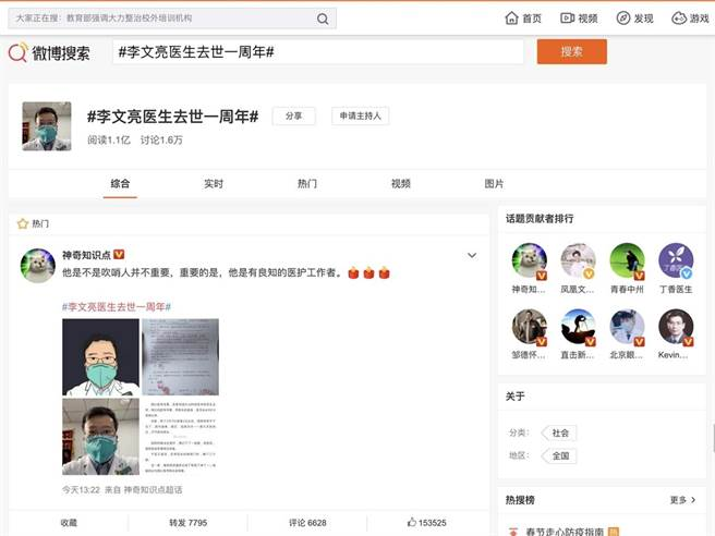 大陸有大批網友悼念武漢眼科醫生、疫情吹哨人之一的李文亮去世一周年。(微博截圖)