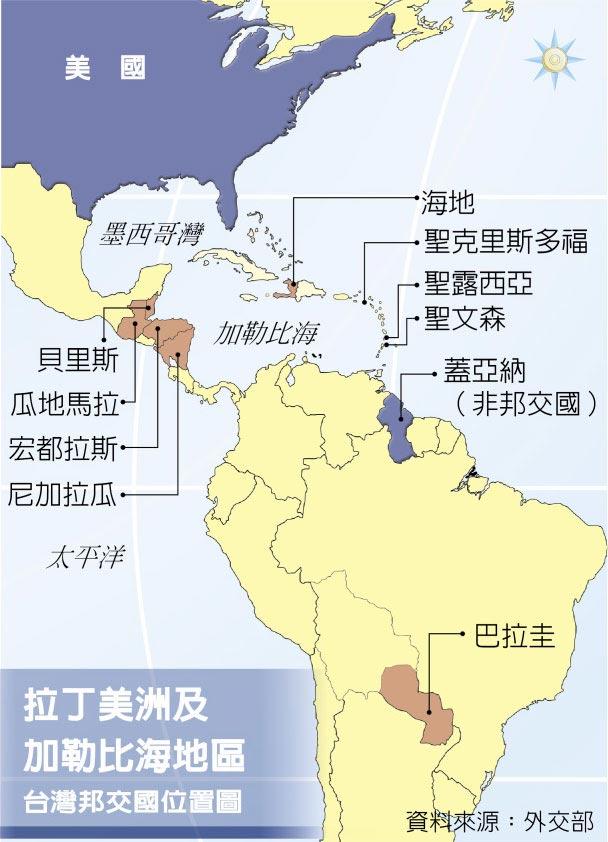 拉丁美洲及加勒比海地區台灣邦交國位置圖