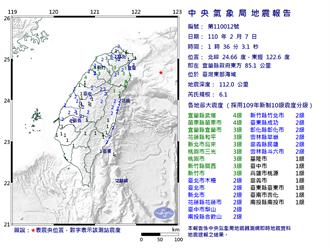 凌晨爆6.1地震 氣象局:4天內恐有規模4餘震