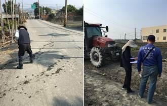 翻土機未清理就上路 泥土沿路沾染馬路遭罰1200