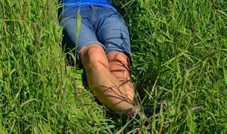 驚見路邊草叢伸出2隻腳 真相曝光引萬人狂讚