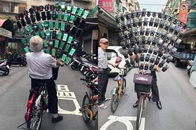 被網友稱為「寶可夢阿伯」的男子陳三元,日前將至少64支手機直接架在腳踏車上,如同一面手機擋風玻璃,畫面壯觀。(圖/截自臉書 爆廢公社)