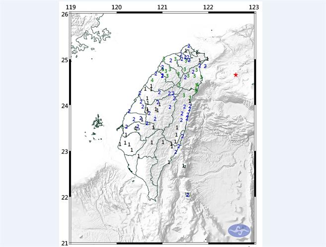 今年規模達5以上的地震已經有5次之多,中央氣象局地震測報中心表示,大規模地震好發趨勢持續中,這樣的情況非常特殊,原因仍有待研究。圖為7日凌晨1點36分有感地震各地震度。(氣象局)