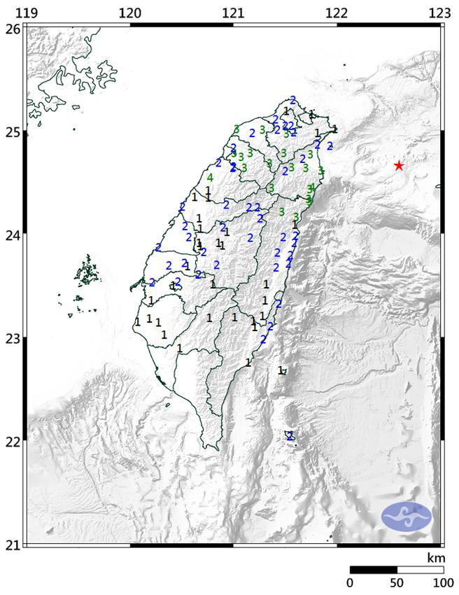 台灣地區7日凌晨1點36分發生有感地震。(圖/氣象局)