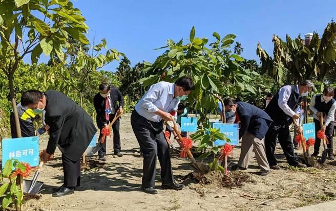 屏東可可跨域推廣所7日開幕,縣長潘孟安(左二)也在現場種下可可樹。(潘建志攝)