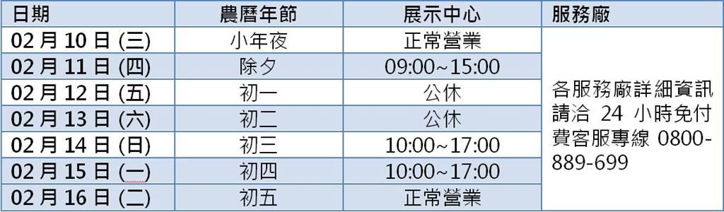 台灣福斯商旅全台展示中心暨服務廠營業時間春節服務時間