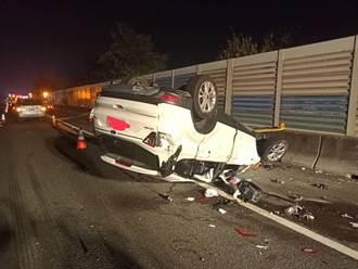 国1彰化段深夜连环撞 2车翻覆酿2死4伤