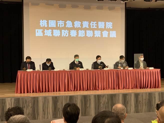 桃園市8日邀集轄內急救責任醫院召開聯繫會議。(姜霏攝)