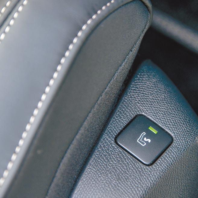 2.前座椅側面有按摩功能開關。(陳大任攝)