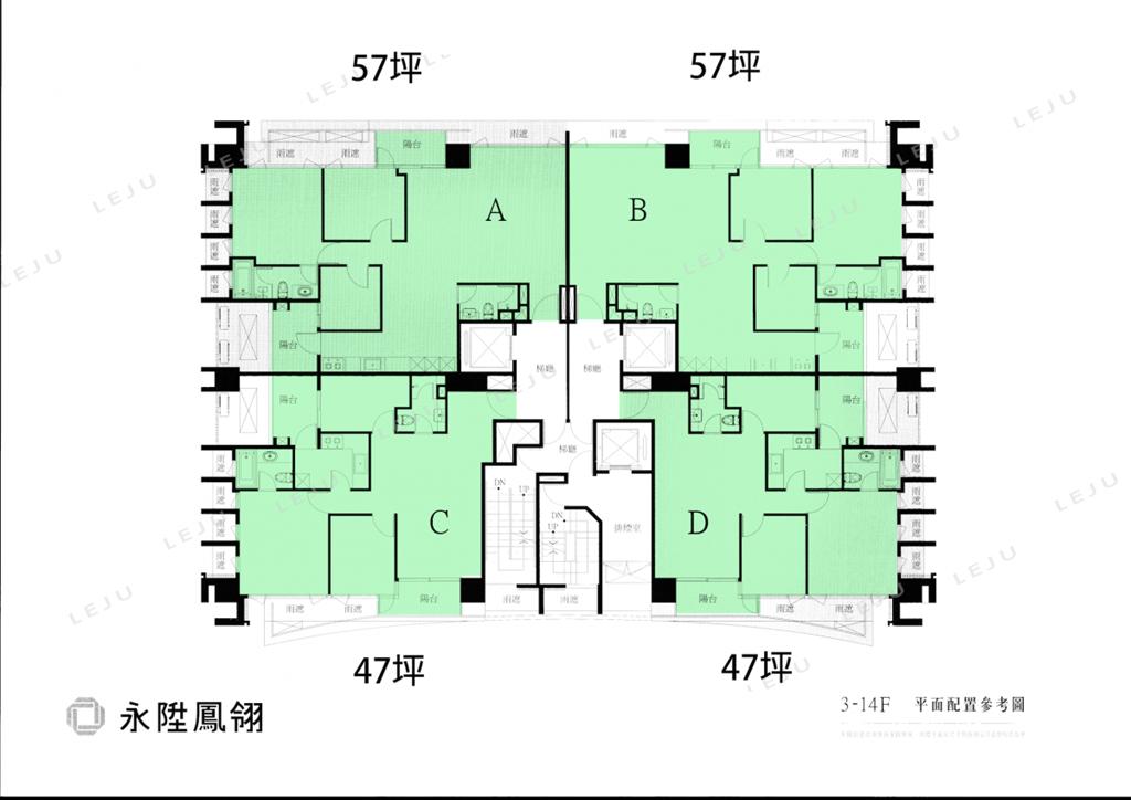 永陞鳳翎標準層平面圖