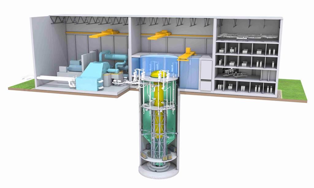 爱沙尼亚一名政治家,要用15年的时间以小型核电取代页岩油,图为通用-日立公司的BWRX-300反应炉,电厂佔地仅需1个美式足球场即可。图/通用-日立公司(photo:ChinaTimes)