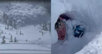 雪崩驚悚瞬間!「巨大雪浪」10秒內活埋4人 滑雪客掙扎逃生