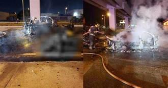 藍寶堅尼SUV自殺式高速衝橋墩 瞬間炸成火球駕駛慘死