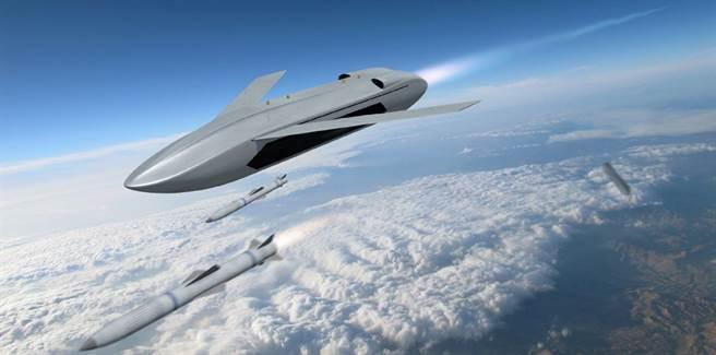 DARPA所繪的空戰無人機構想圖,像是巡弋飛彈裝載空對空飛彈。(圖/DARPA)