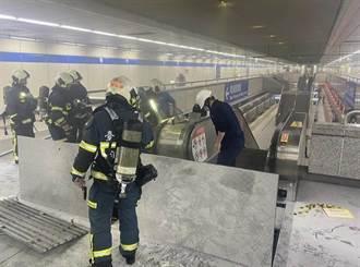 北捷善導寺站月台電扶梯起火竄濃煙 緊急滅火疏散乘客