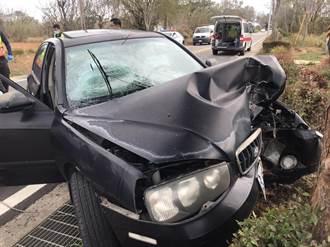 金門轎車自撞路樹 回娘家5人受傷送醫