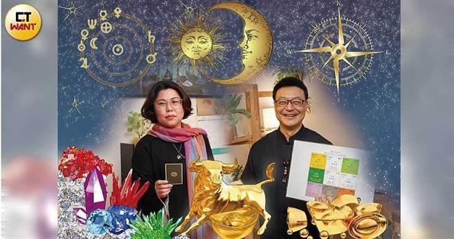 精研西洋占星的安塔芮絲與東方命理學家八紫山人都認為,2021年在經濟、財政議題上,會有相當多的變化。(圖/張文玠攝;許文偉、陳家欣繪)