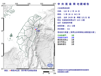 花蓮清晨規模3.6地震  最大震度花蓮縣3級