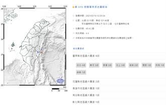地牛拜年!東部外海規模4.4地震 最大震度台東4級