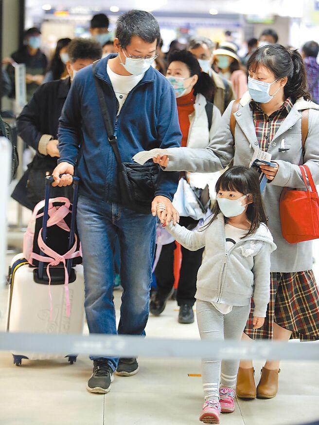 大年初二依傳統習俗是回娘家的日子,13日一早各鐵公路車站就湧入闔家老小,提著大包小包行李,準備搭車。(季志翔攝)
