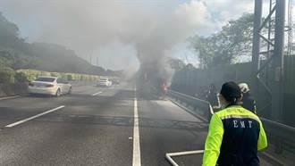 國道1號基隆客運火燒車 46人驚惶逃生