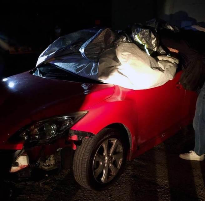 台南市安平区杀人案,凶嫌做案搭乘的自小客车在仁德被寻获。(读者提供/洪荣志台南传真)