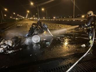 【開工不平靜】國5羅東自撞火燒車 駕駛噴飛車外慘死
