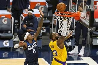 NBA》湖人踢館挫灰狼 詹姆斯30分13籃板拒絕連敗