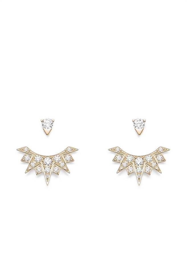 伯爵Sunlight系列18K玫瑰金鑲鑽耳環,19萬9000元。(PIAGET提供)