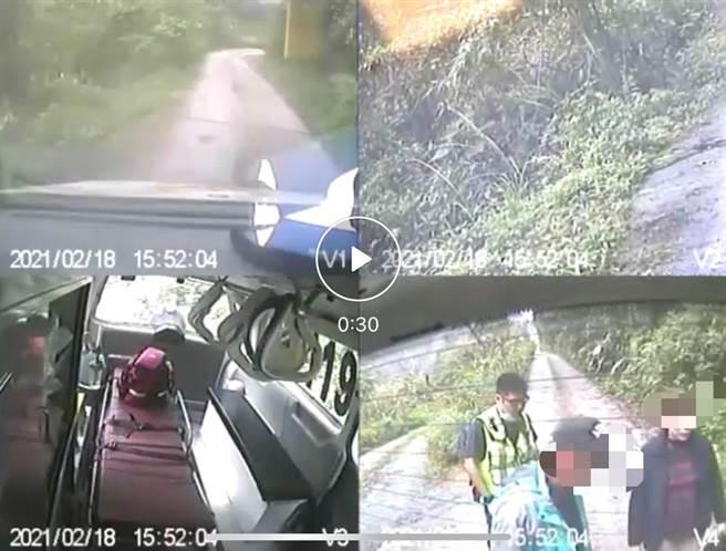露營民眾駕車摔落15米溪床,當事人(右下角)自行脫困,消防救護車到達現場救傷者送醫。(消防局提供/王志偉花蓮傳真)