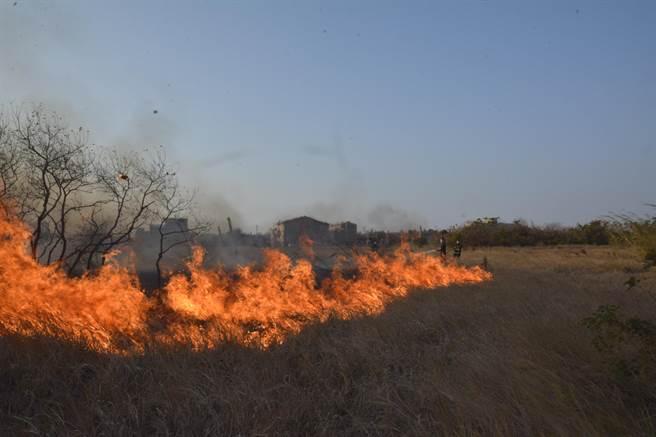 金门民眾随意放火燃烧田间杂草,去年引起火灾事故280件之一。(金门县消防局提供)