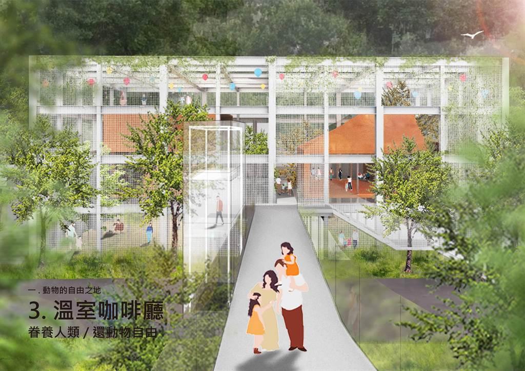 「溫室咖啡廳」概念是反客為主,「眷養人類」還動物自由。(高市觀光局提供/柯宗緯高雄傳真)