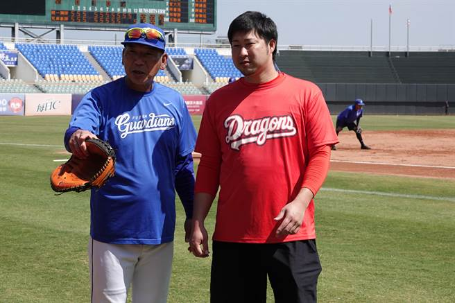 富邦悍將教練古久保健二(左)與味全龍日籍投手田澤純一。(毛琬婷攝)