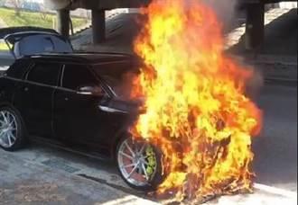 彰化交流道火燒車 200多萬英國名車成廢鐵