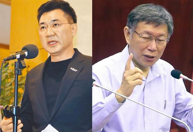 國民黨主席江啟臣(左)與台北市長柯文哲,將在「願景台灣2030」第二場論壇首度同台。(合成圖/資料照)