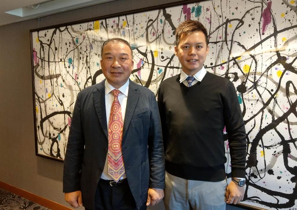 富旺國際開發董事長林正雄(圖左)對公司營運表現相當有信心,圖右為林正雄之子、富旺國際開發總經理林宗毅。(葉思含攝)