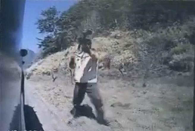 武陵農場驅猴巡護隊持漆彈槍朝不配合交管的遊客車輛開3槍示警。(民眾提供/王文吉台中傳真)