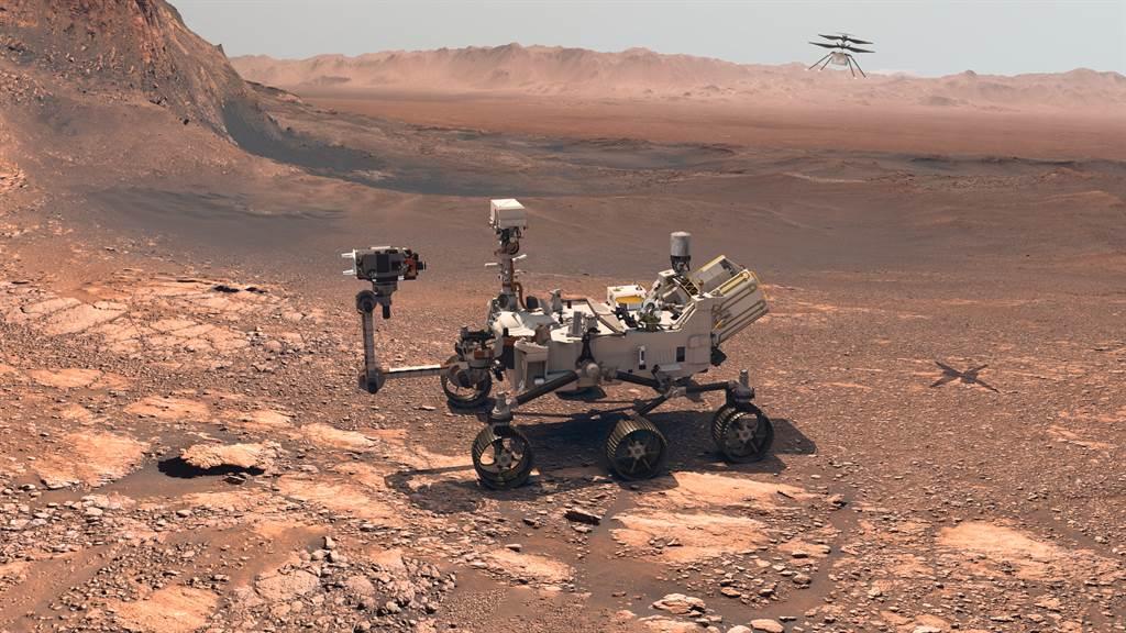 NSAS公布火星探測車「毅力號」(Perseverance)登陸地點的壯觀全景照,並開放民眾自行上傳照片,透過電腦合成「火星自拍照」。(達志影像/Shutterstock)