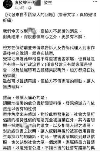 女員工控性侵墜樓案不起訴 家屬將聲請再議:很失望