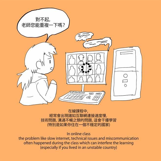 一名印尼華語生手繪插畫,並透過畫作表示,線上學習困難重重,希望能趕緊回到台灣就學。(境外生權益小組提供/李侑珊台北傳真)