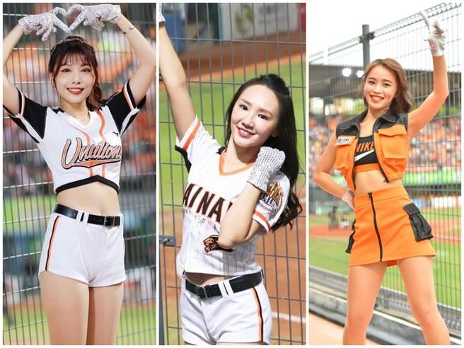 統一獅Uni-girls啦啦隊妮可(左起)、Albee、辰羚將離隊。(截自個人IG、Uni-girls官方臉書粉專)
