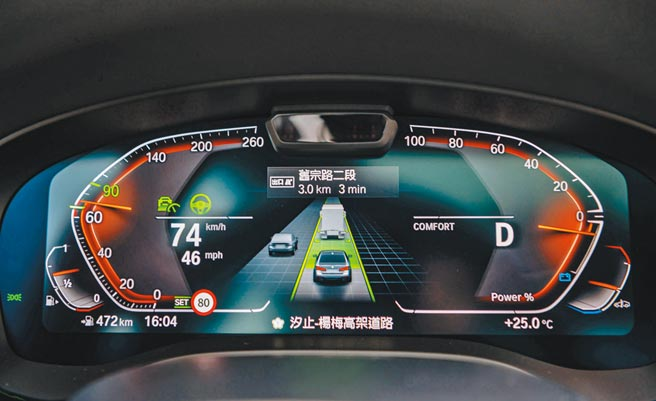 12.3吋駕駛儀錶新增BMW Personal CoPilot智駕科技,升級自動倒車輔助、道路虛擬實境、速限輔助等功能。攝影/于模珉