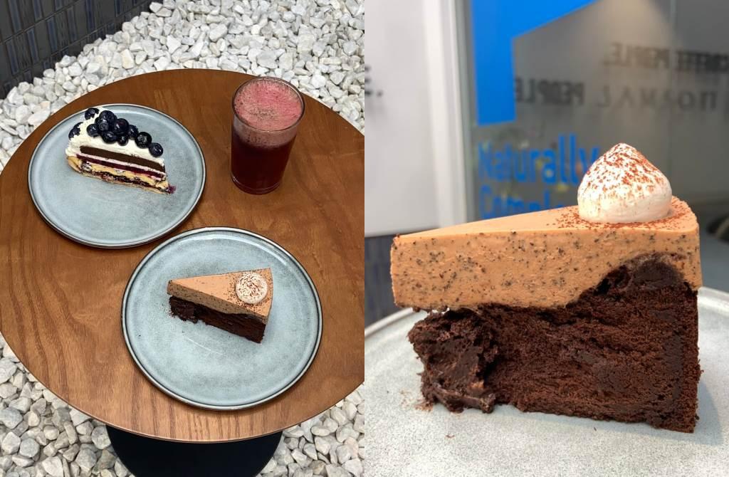 伯爵古典巧克力蛋糕以2種不同風味的法國法芙娜巧克力製作,高級的濃厚口感一吃就知道用料實在。(圖/楊婕安攝)