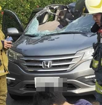 驚悚 國1大貨車掉輪擊中轎車 母當場遭砸死1女兒急救中