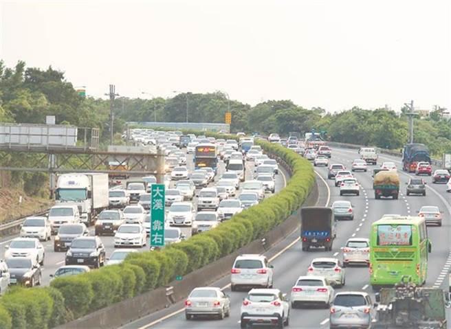 國道南向路段多處壅塞,國3往國5一度嚴重回堵。(資料照)