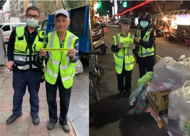中山分局發送反光配件給長者,防止交通意外。(翻攝照片/林郁平台北傳真)