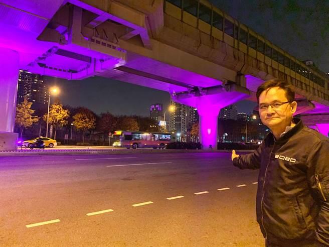 市議員張耀中痛批說,燈光將對用路駕駛人,恐造成眩光刺眼等行車影響。(市議員張耀中服務處提供/陳世宗台中傳真)