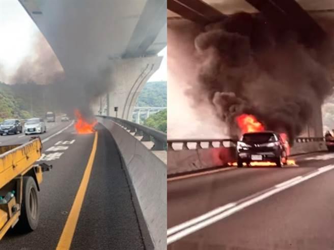 國道1號五楊高架上週19日發生火燒車事件,所幸車主及時逃出,無傷亡;而該女車主日前網路上曝光事件完整經過。(圖/翻攝自Dcard)