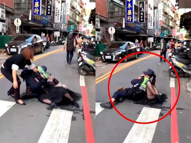 婦人不滿轎車遭拖吊,朝開單的員警怒嗆,她遭員警摔到在地、潑辣椒水壓制。(圖/翻攝自臉書爆料公社)
