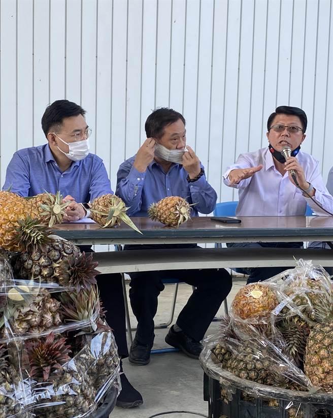 國民黨副祕書長謝龍介(右)針對蓮霧銷陸也受阻,特別澄清是謠言。(曹婷婷攝)